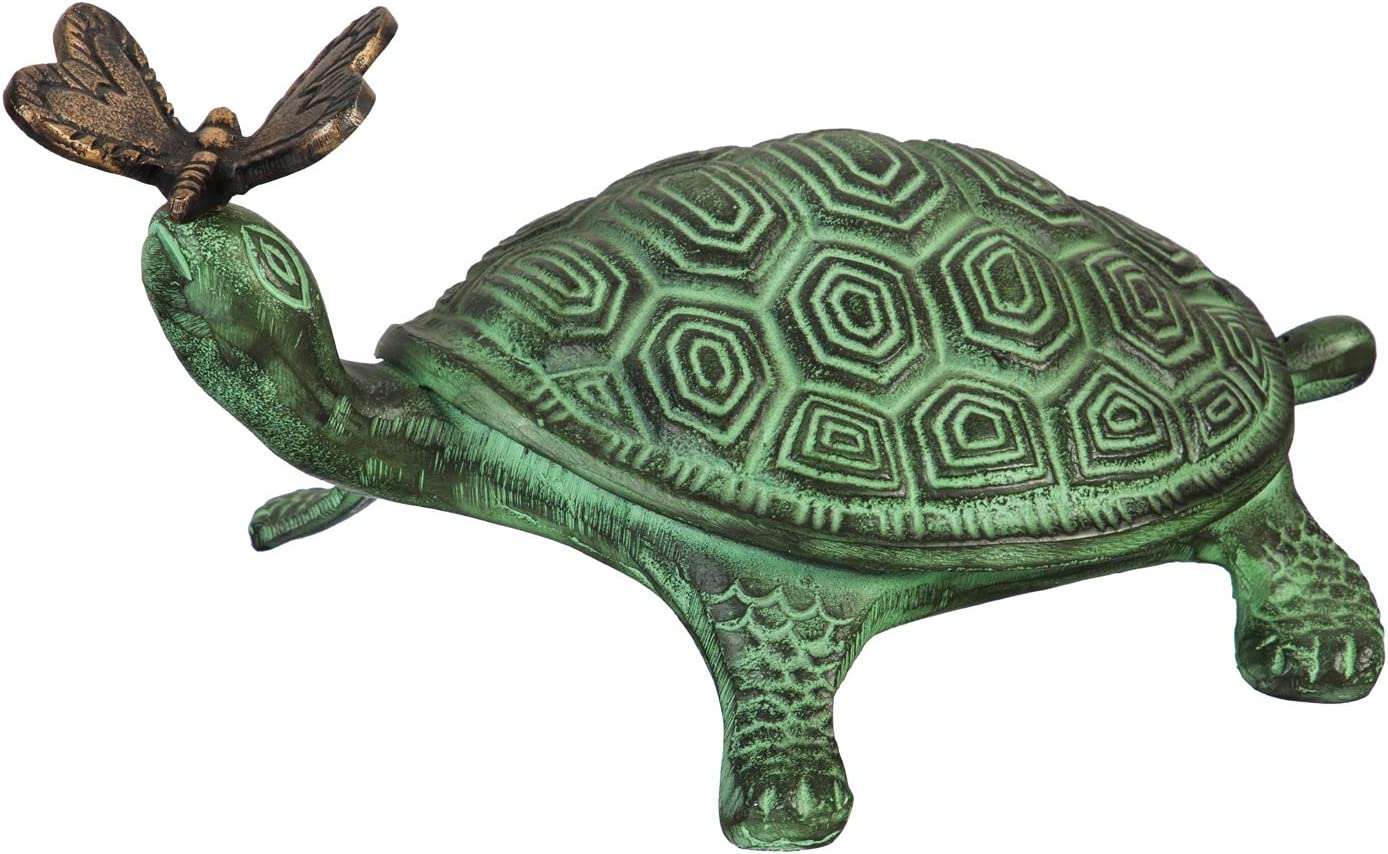 Evergreen Garden Beautiful Summer Turtle and Butterfly Metal Garden Statue - 9 x 14 x 7 Inches Fade and Weather Resistant Outdoor Decoration for Homes, Yards and Gardens