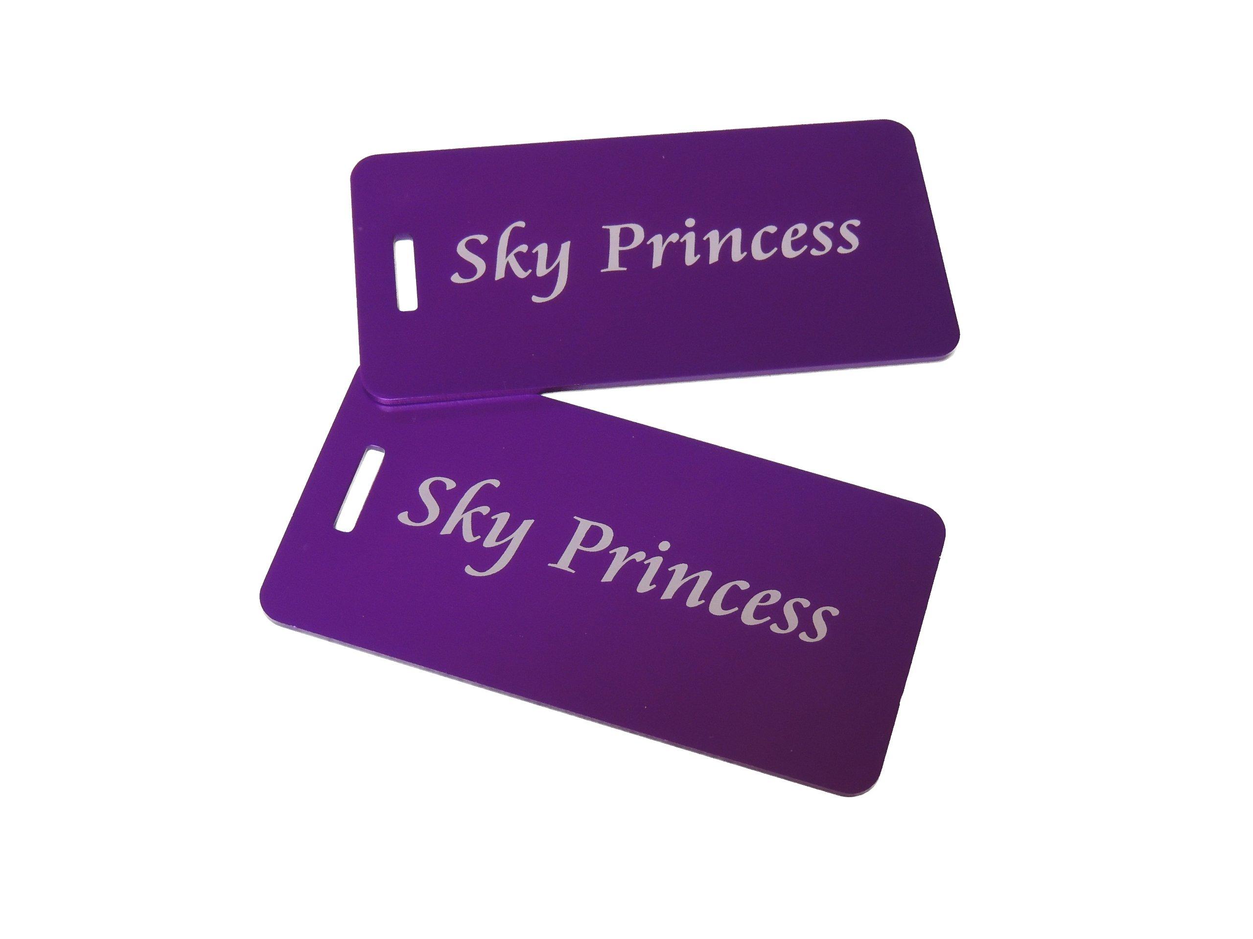 Flight Attendant Gifts, Sky Princess, Luggage Tags, Flight Attendant Bag Tag, (Purple)