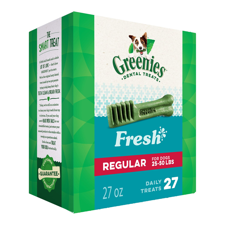 GREENIES Regular Natural Dog Dental Care Chews Oral Health Dog Treats Fresh Flavor, 27 oz. Pack (27 Treats) by Greenies