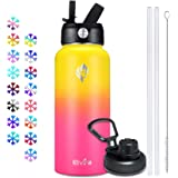 Elvira 32oz Vacuum Insulated Stainless Steel Water Bottle with Straw & Spout Lids, Double Wall Sweat-proof BPA Free to Keep B
