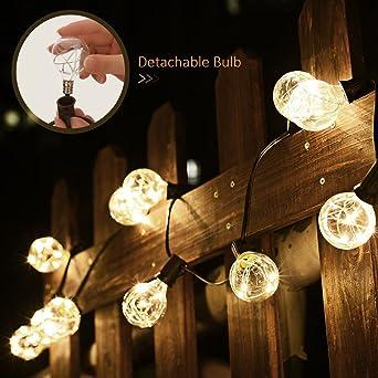 Cadena de Luces Fochea Guirnalda Bombillas LED con 12 Bombillas G40 Decoración Interior y Exterior para