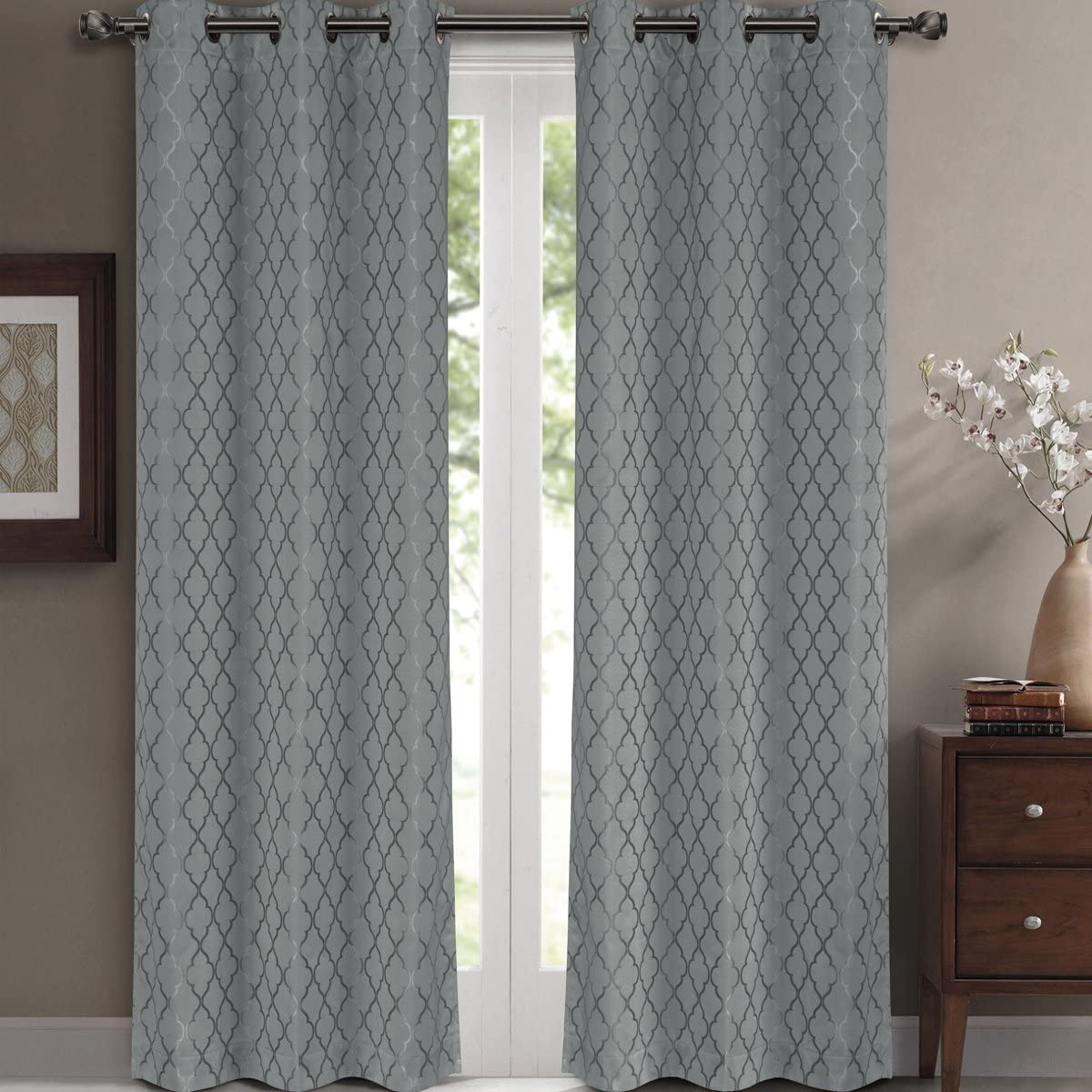 GoLinens Blackout Window Curtain Panels Set of 2 Willow Jacquard Thermal Insulated 84 x 108 inches, Grey