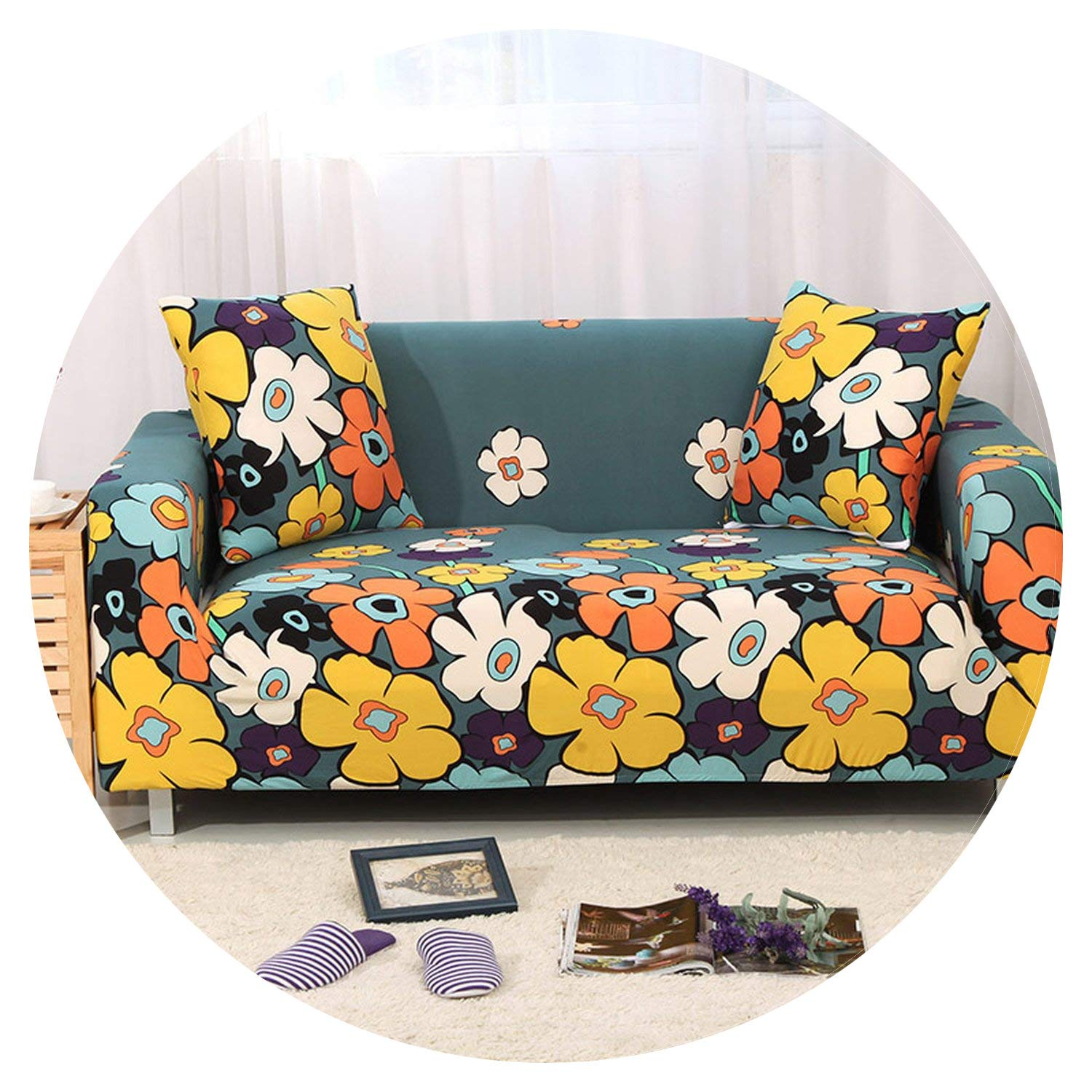 Amazon.com: Stretch Fabric Flower Printing Sofa Cover All ...