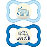 MAM Air Night Pacifiers (2 pack, 1 Sterilizing Pacifier Case), MAM Sensitive Skin Pacifier 6+ Months for Baby Boy, Glow…