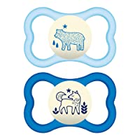 MAM Air Night Pacifiers (2 pack, 1 Sterilizing Pacifier Case), MAM Sensitive Skin...