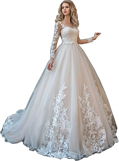 Women V-neck Long Sleeve Lace Wedding Dresses Appliques Embroidery Bride Gowns