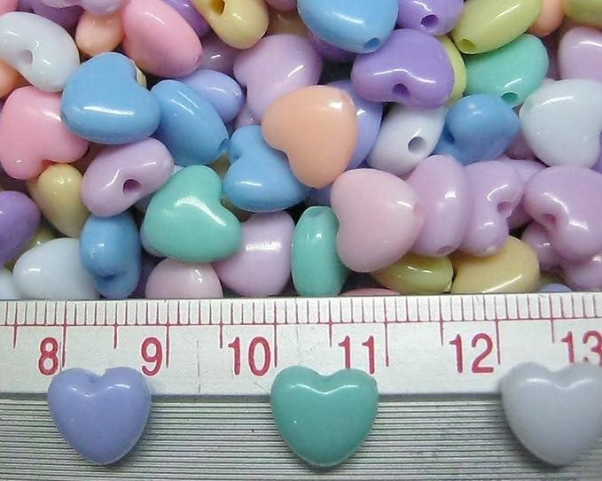 Amazon.com: Montón de 150pcs acrílico corazón perlas 9 mm ...