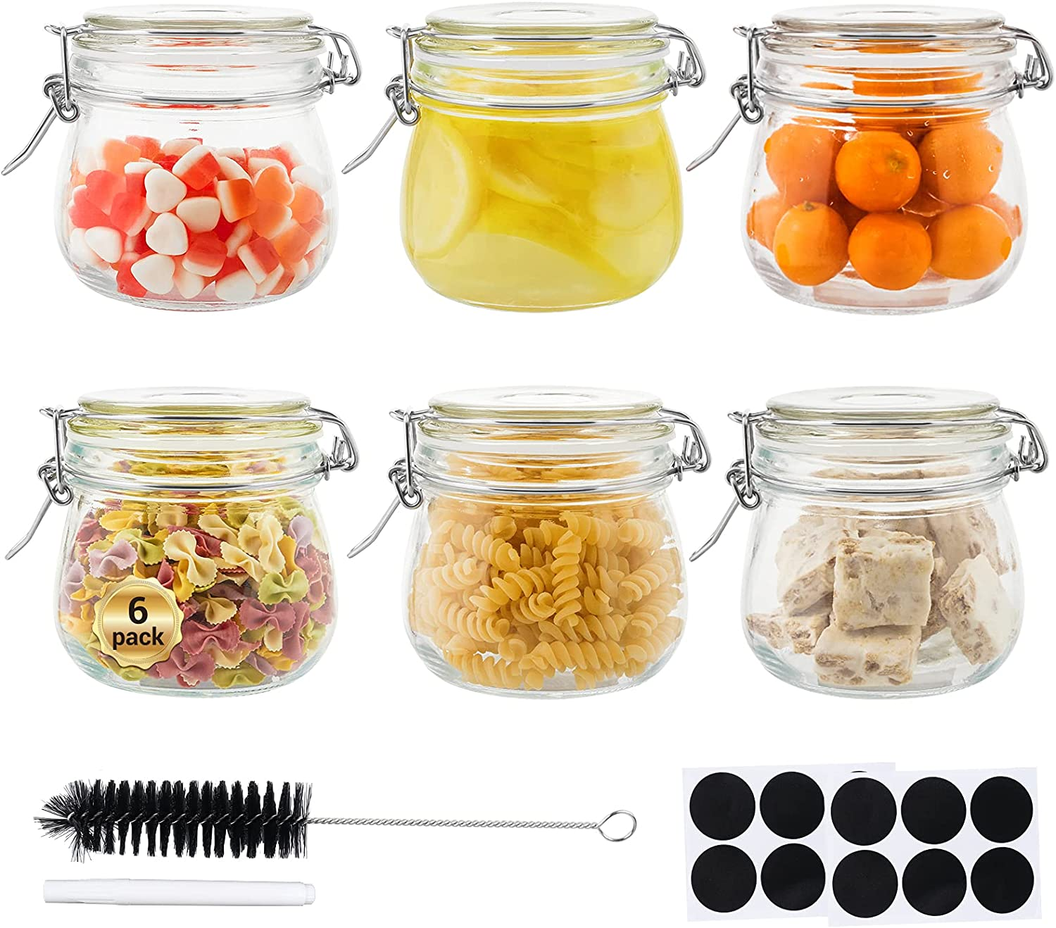 Glass Octopus 17oz Glass Jars with Airtight Sealed Lids, Wide Mouth Mason Jars with Leak Proof Rubber Gasket for Kitchen, Clear Glass Storage Containers for Snacks, Jams & More, 6 Pack(500ML), Round