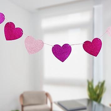 Amazon Com Valentine S Day Heart Garland Ribbon Banner Glitter Red