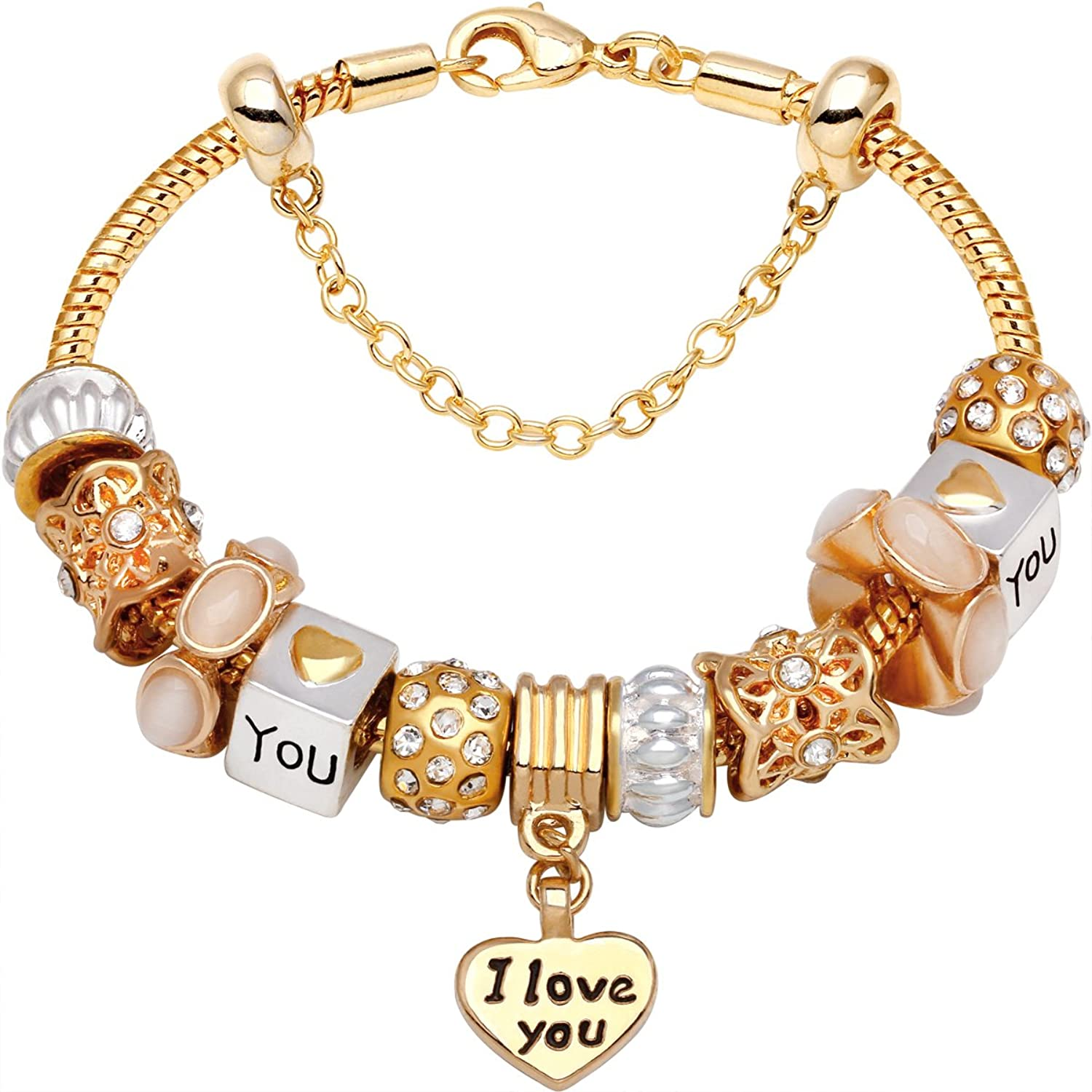 """""""I Love You With All My Heart"""" Gold-Tone Love Heart Bead Charm Bracelet"""