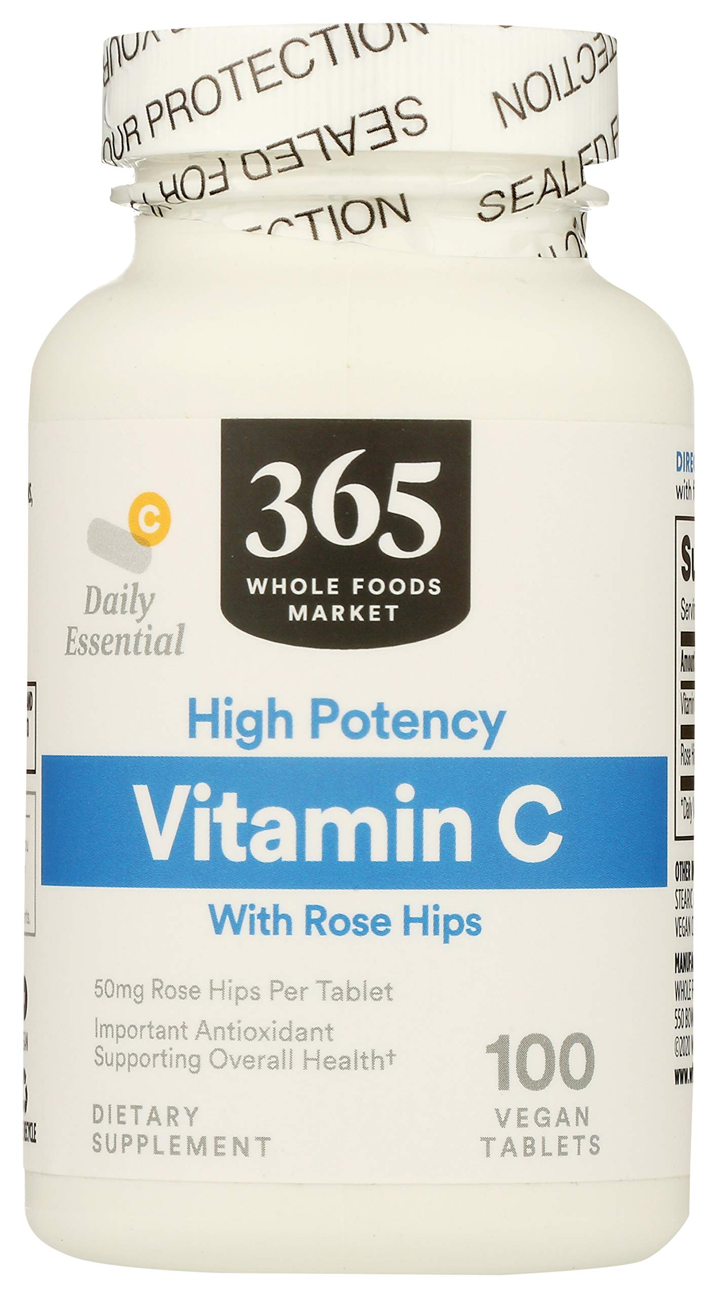 365 by Whole Foods Market, Supplements - Vitamins, C with Rose Hips - High Potency (Vegan Tablets), 100 Count
