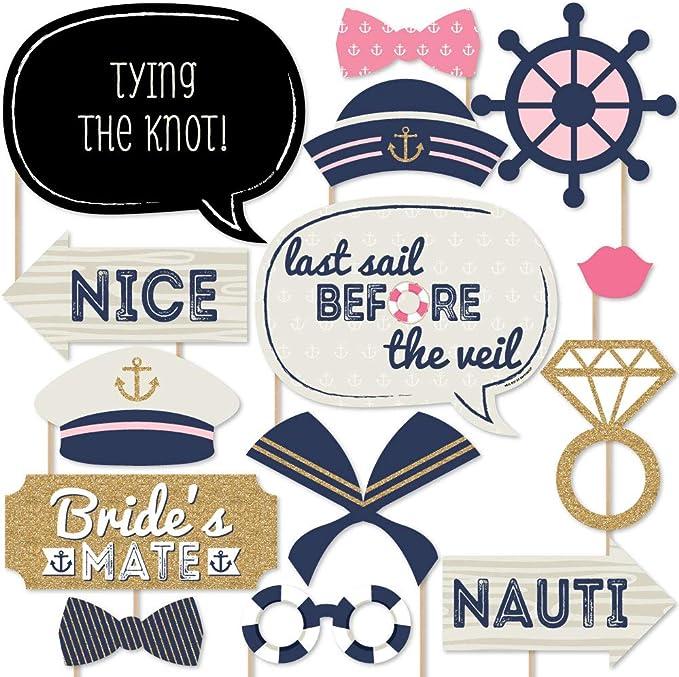 Nautical Bride Bachelorette Party Captain Hat Last Sail Before The Veil Black White Bridal Sailor Wedding Veil Anchor Cruise Pool Cap /& Sash