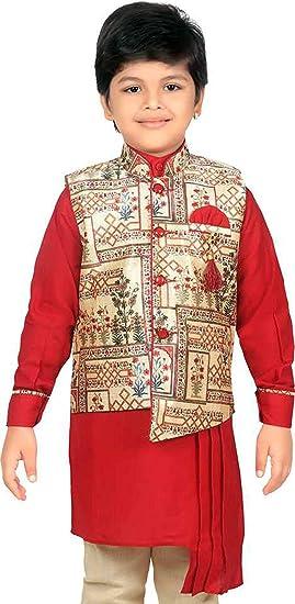 63801989a Kids Ethnic Wear Kurta Pyjama Waistcoat Set - Indian Traditional Festival  For Boys (1-