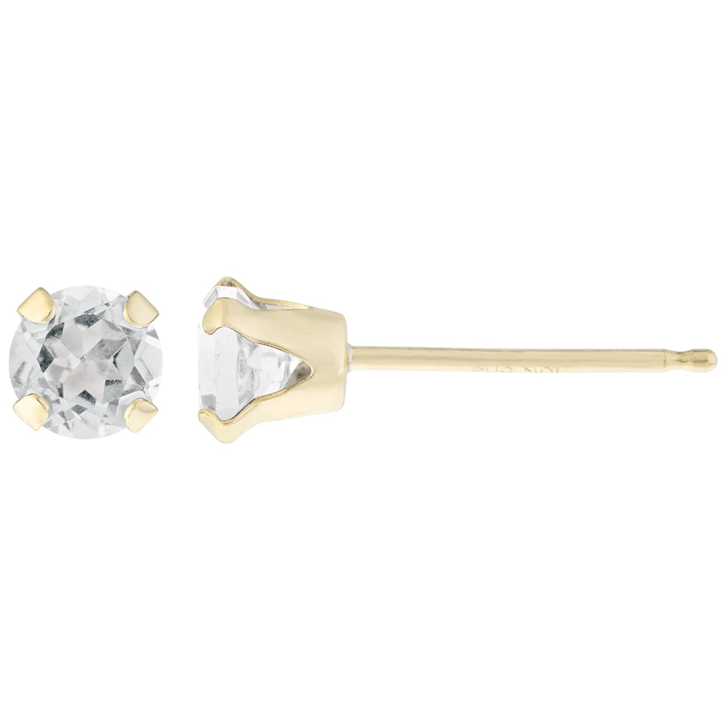 .20 CT Round 3MM White Topaz 14K Yellow Gold Stud Birthstone Earrings