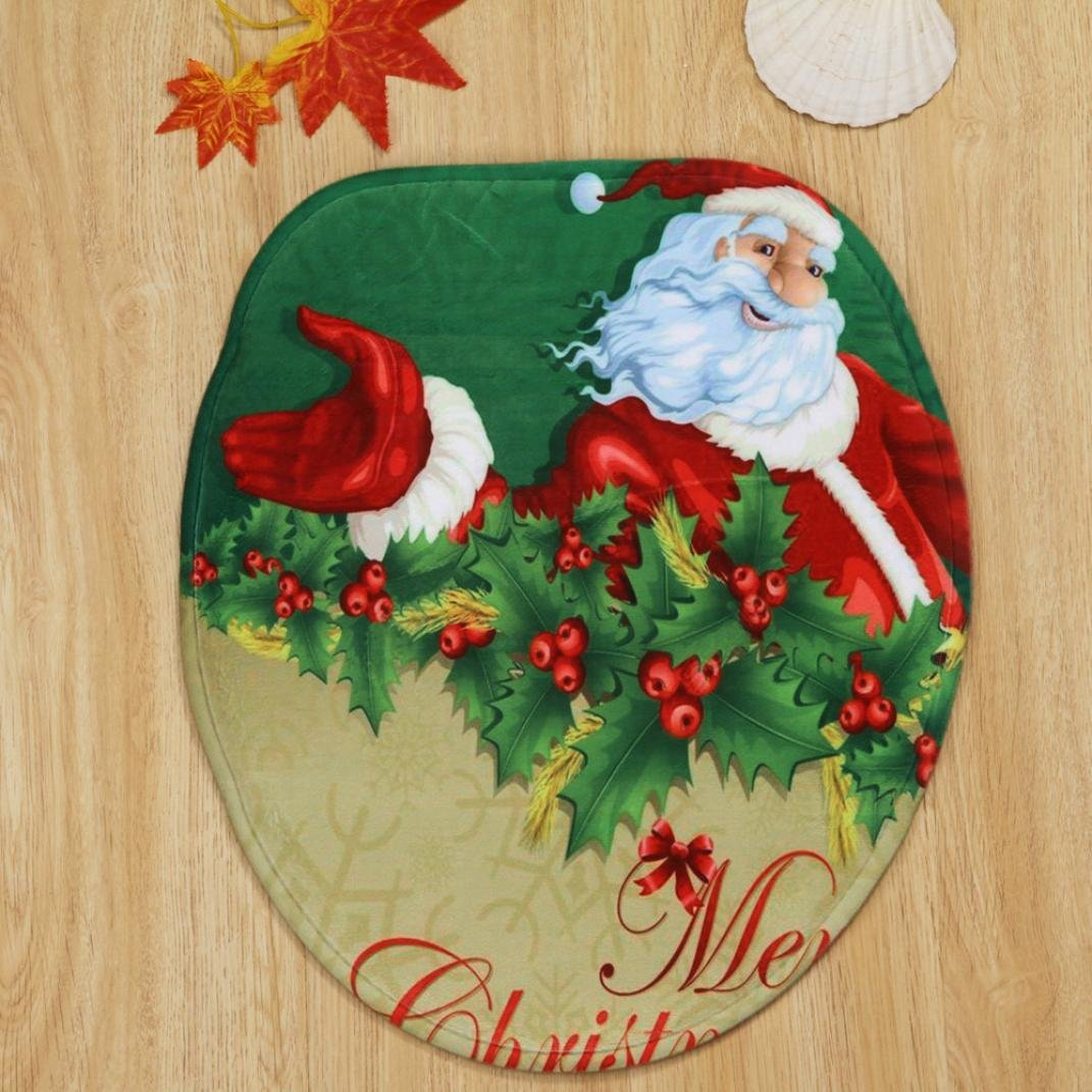 Bath Rug Set,vmree 3Pcs Home Christmas Toilet Foot Pad Seat Cover Radiator Cap Bathroom Sets for Home Bathr oom Tub Wood Floors (B) by vmree (Image #3)