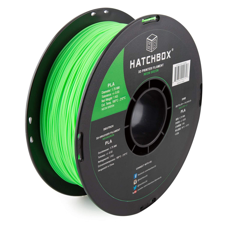 HATCHBOX PLA 3D Printer Filament, Dimensional Accuracy +/- 0.03 mm, 1 kg Spool, 1.75 mm, Neon Green