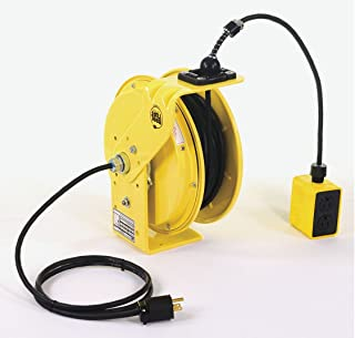product image for KH Industries RTB Series ReelTuff Industrial Grade Retractable Power Cord Reel with Black Cable, 16/3 SJOW Cable Prewired with Four Receptacle Outlet Box, 10 Amp, 35' Length, Yellow Powder Coat Finish
