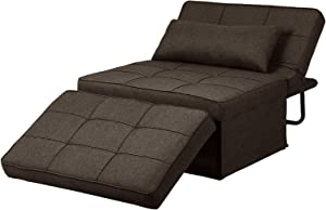 Diophros Ottoman Sofa Bed, 4 in 1 Multi-Function Folding Sleeper Guest Sofa Chair Convertible Sofa for Living Room (Deep Brown)