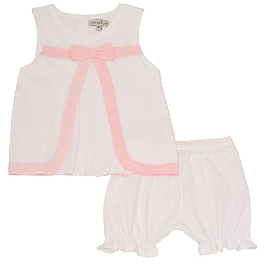 19db22d753f Harry   Violet Baby Girls White Peach Bow Top 2 Pc Bloomer Outfit 3M