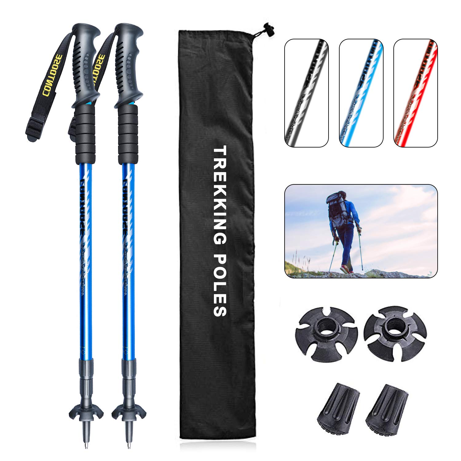 Aluminum walking poles Telescopic Trekking Poles 2 Pack Adjustable Hiking Walking Stick Quick Lock Shock-Absorbent Ultralight for Camping Mountaineering Backpacking 4 Season All Terrain Accessory