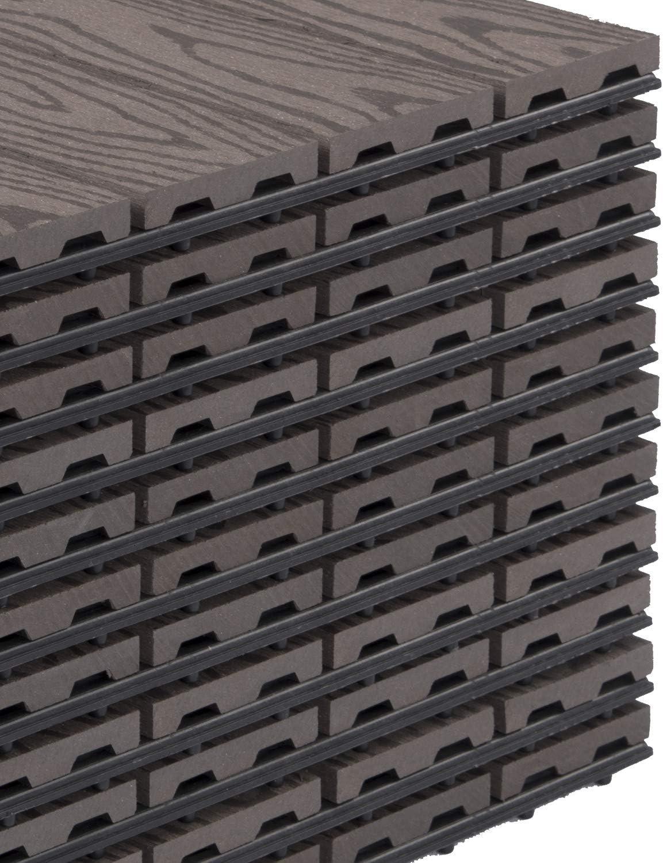 30 * 30 * 1cm Balcon E-starain Sets de dalles de terrasse bois composite WPC Jardin,Dalles Clipsables pour Jardin 11 pi/èces Piscine Brun
