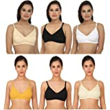 XCare Women Cotton Mix Seemless Wirefree Push Up Bra (Pack of 6) (Color: Multicolor)