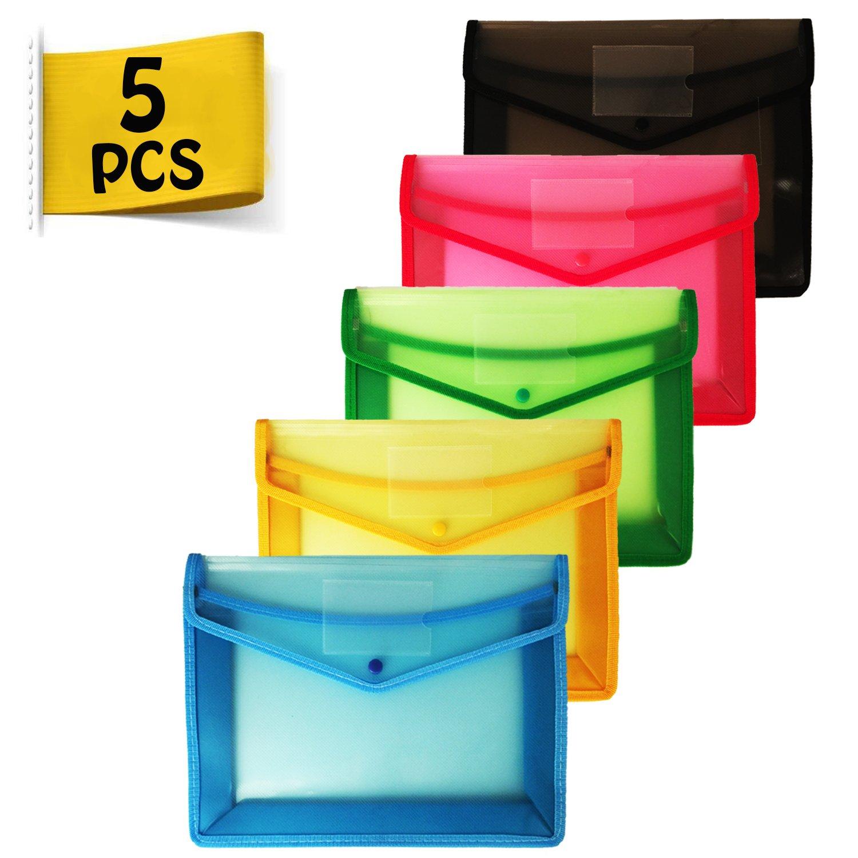 Portadocumenti Trasparente - 5 Pz Cartelle Portadocumenti Buste Trasparenti A4 con Chiusura a Scatto, Slot per Scheda JXFF Ltd.