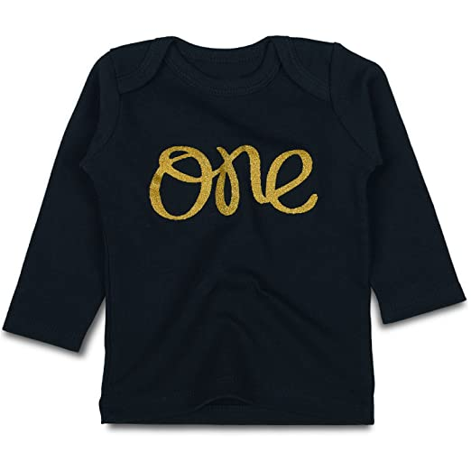 3293b96b8d SOBOWO Black Sparkly Glitter Gold One T-Shirts for Newborn Girls Boys (0-