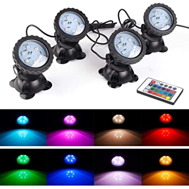 S SMIFUL Pond Light IP68 Submersible Spotlight Remote Control 6 Bright LED Chips RGB Color Changing Waterproof Lawn Spot Light for Aquarium Garden Pond Pool Tank Fountain Waterfall (Set of 4)