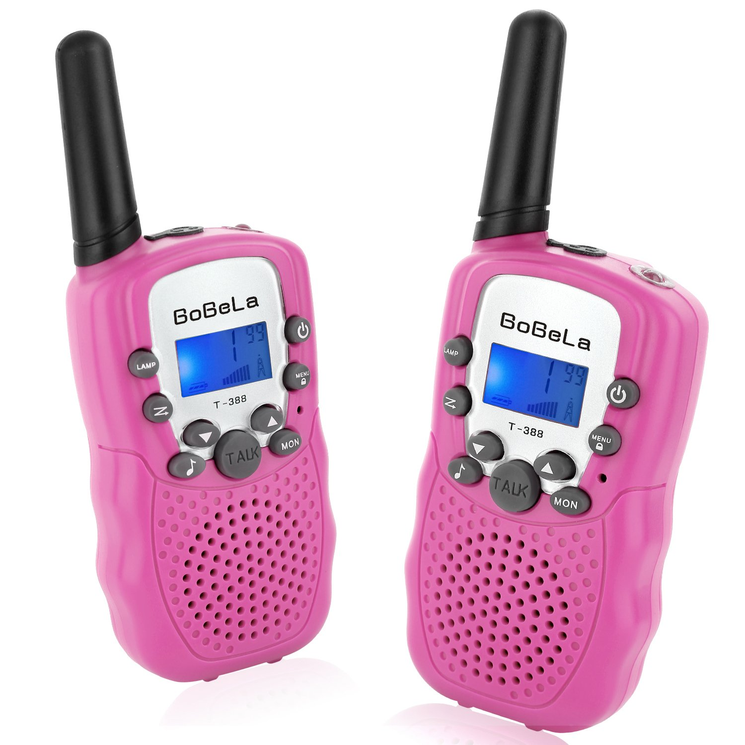 Bobela T388 Best Friendly Walkie Talkies as Thanksgiving Day Gifts for Girls Women / Two Way Radio Toys for Kids Hiking / Cute Long Range Walky Talkie with Lamp for Home Car Wedding ( Pink 2 Pack )