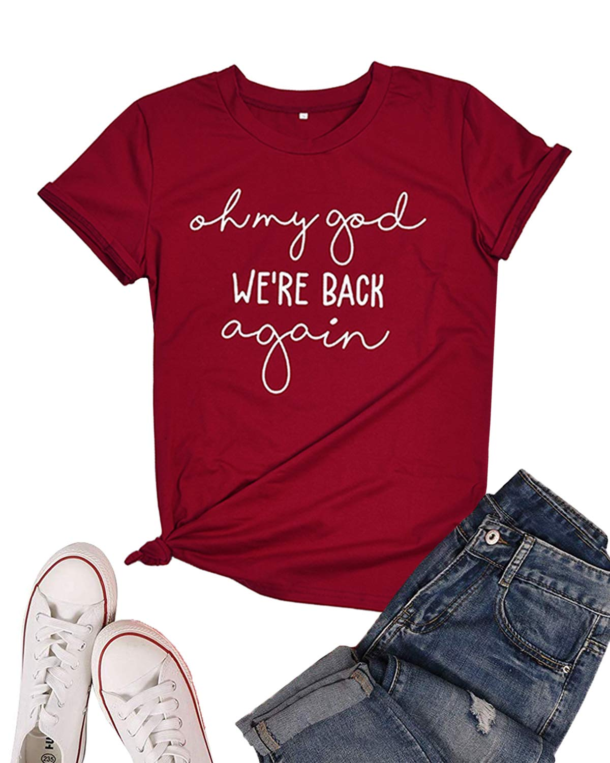 LeMarnia Cute Shirts for Women, Juniors Short Sleeve Oh My God We're Back Again T-Shirt Round Neck Letter Print Graphic Tees Cute Cotton Knit Tops Wine L