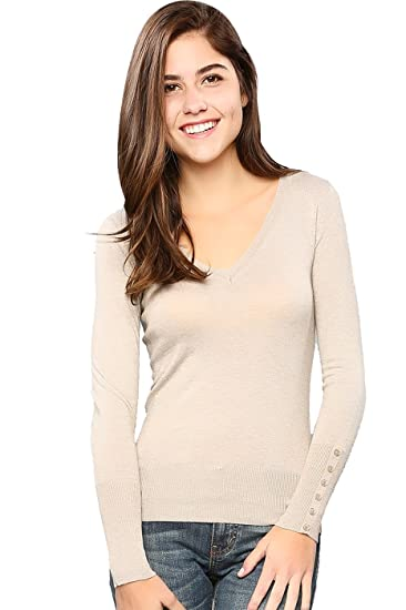 09f7a6b755 2LUV Women s Dressy Long Sleeve V-Neck Knit Sweater Taupe S at Amazon  Women s Clothing store