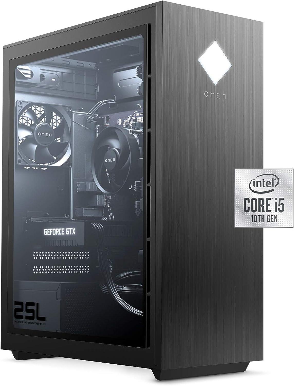 OMEN 25L Gaming Desktop PC, NVIDIA GeForce GTX 1660 Super, Intel Core i5-10400F, HyperX 8 GB DDR4 RAM, 512 GB PCIe NVMe SSD, Windows 10 Home, VR Ready, RGB Lighting (GT12-0020, 2020 Model)