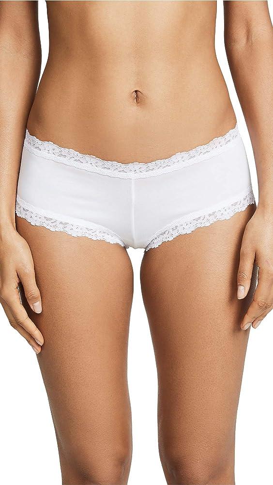 Hanky Panky Womens Organic Cotton Boyshort w/ Lace White Boy Shorts SM: Amazon.es: Ropa y accesorios