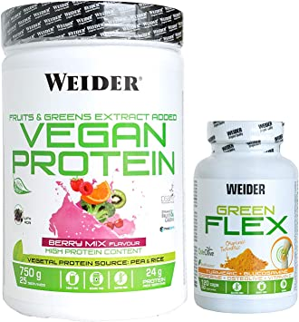 Weider Protein vegan berry 750 g + green flex, Pack vegano de proteina y protector articular aun precio inmejorable