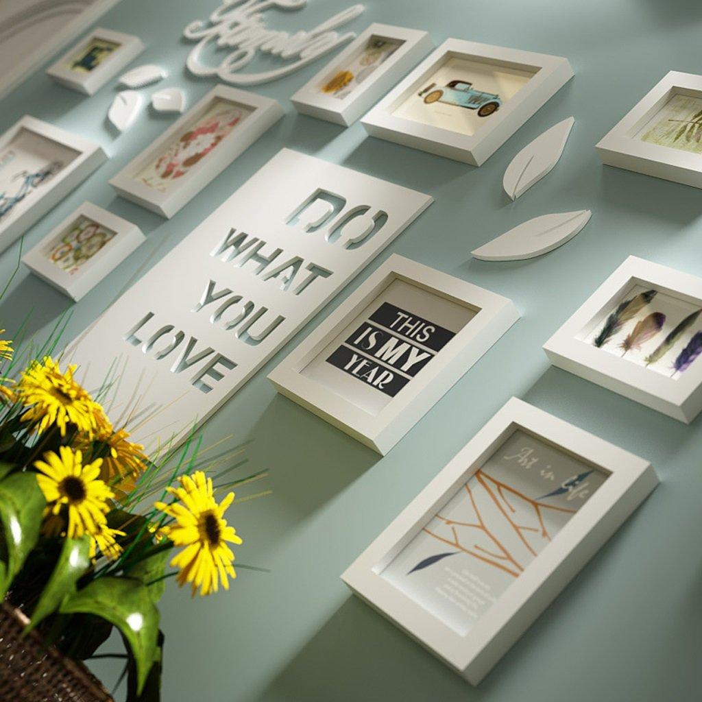 Photo mur Lettre pastoral chambre salon solide bois cr/éatif cr/éatif photo mur ornement cadre mur KUN PENG SHOP Couleur : All white