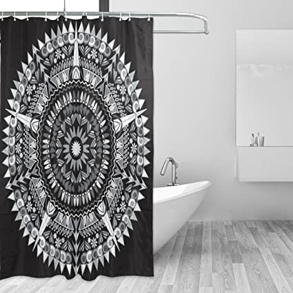 LORVIES Black White Mandala Print Shower Curtain Polyester Fabric Bathroom 66 X