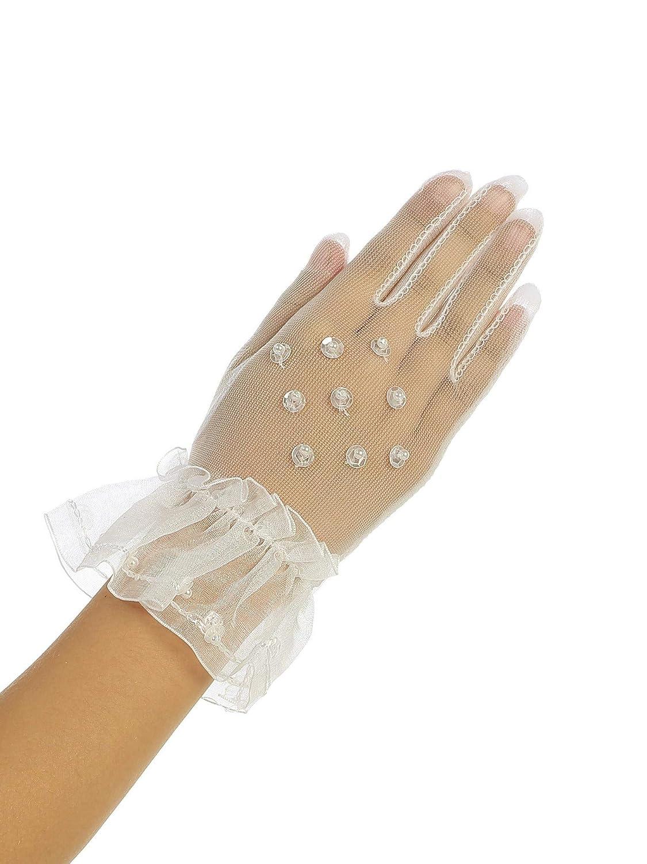 Girls Ivory Beadwork Sheer Special Occasion Communion Flower Girl Gloves 0-14