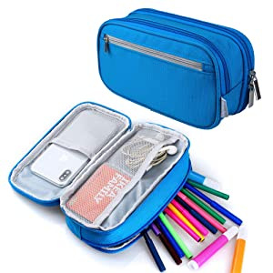 Pencil Case, Big Capacity Pen Case Pencil Bag Pouch Marker Holder Organizer Travel Cosmetic Makeup Bag with Multi Compartments for Boys Girls Students School and Office, Blue