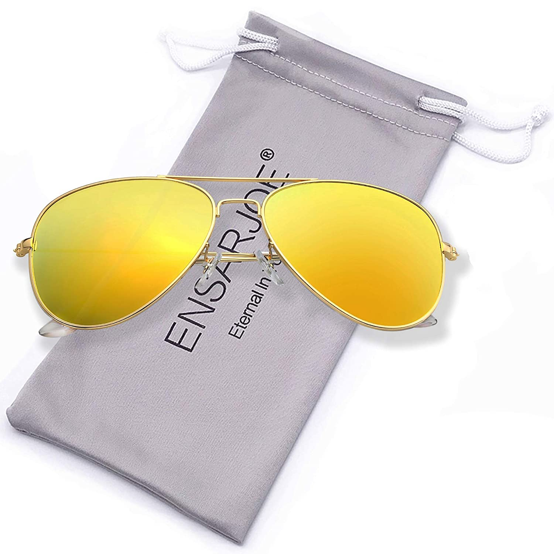 ENSARJOE Polarized UV400 Classic Aviator Sunglasses For Men And Women 3026p-black & grey