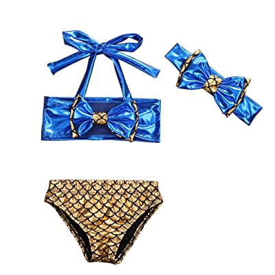 805edd12725 3Pcs Baby Kids Girls Bowknot Bikini Set Top+Fish Scale Briefs+Headhand Swimsuit  Swimwear