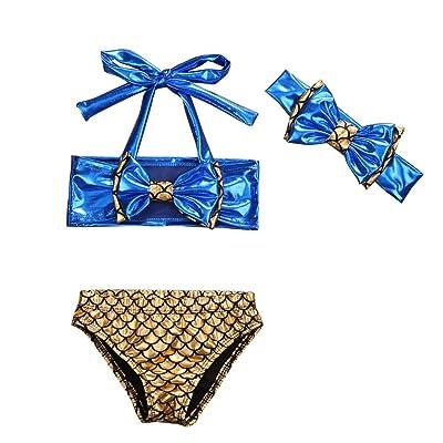 3Pcs Baby Kids Girls Bowknot Bikini Set Top+Fish Scale Briefs+Headhand Swimsuit Swimwear Bathing Suit