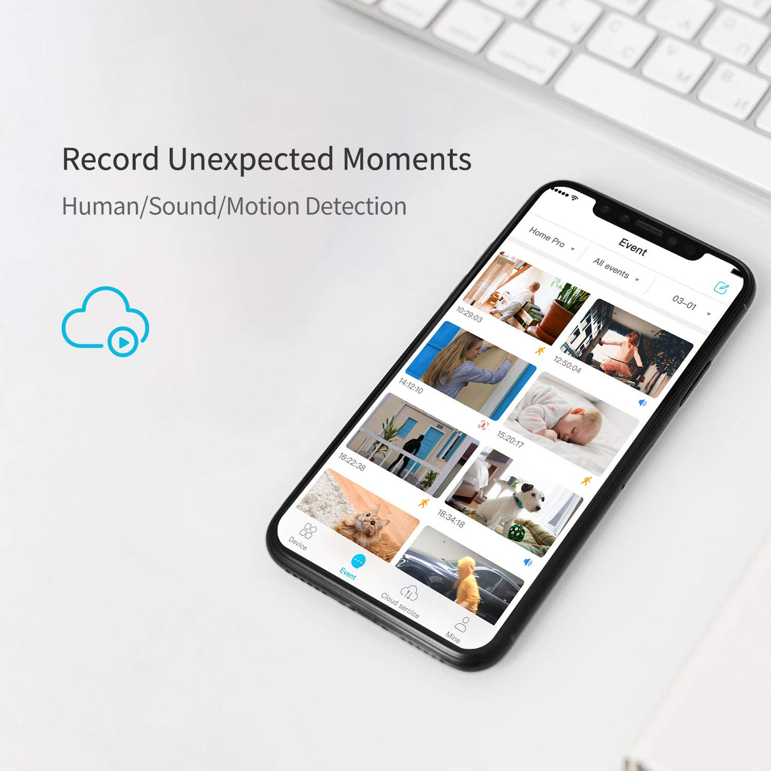 blurams Home Pro, Security Camera 1080p HD | w/ 2-Way Audio and Siren Alarm, Smart AI Human/Sound Detection, Person Alerts, Privacy Mode, Night Vision for Home Monitor | Cloud/Local Storage Available