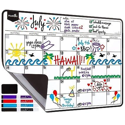 YiGooood - Calendario magnético de borrado en seco para nevera ...
