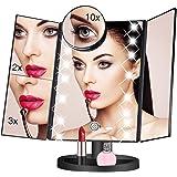 三面鏡 鏡 卓上 LED付き 折りたたみ式 化粧鏡 10倍拡大鏡付き 明るさ調節 180度回転 USB/単三電池給電