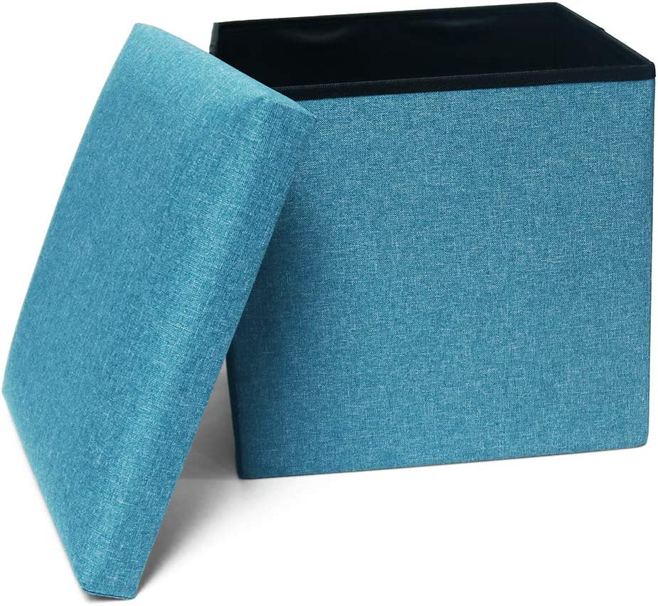 Storage Ottoman Cube Folding Ottomans Cube Seat, Foot Stools and Ottomans with Storage, Square Ottoman Footstool Padded with Memory Foam for Space Saving 15x15x15 inch, Teal