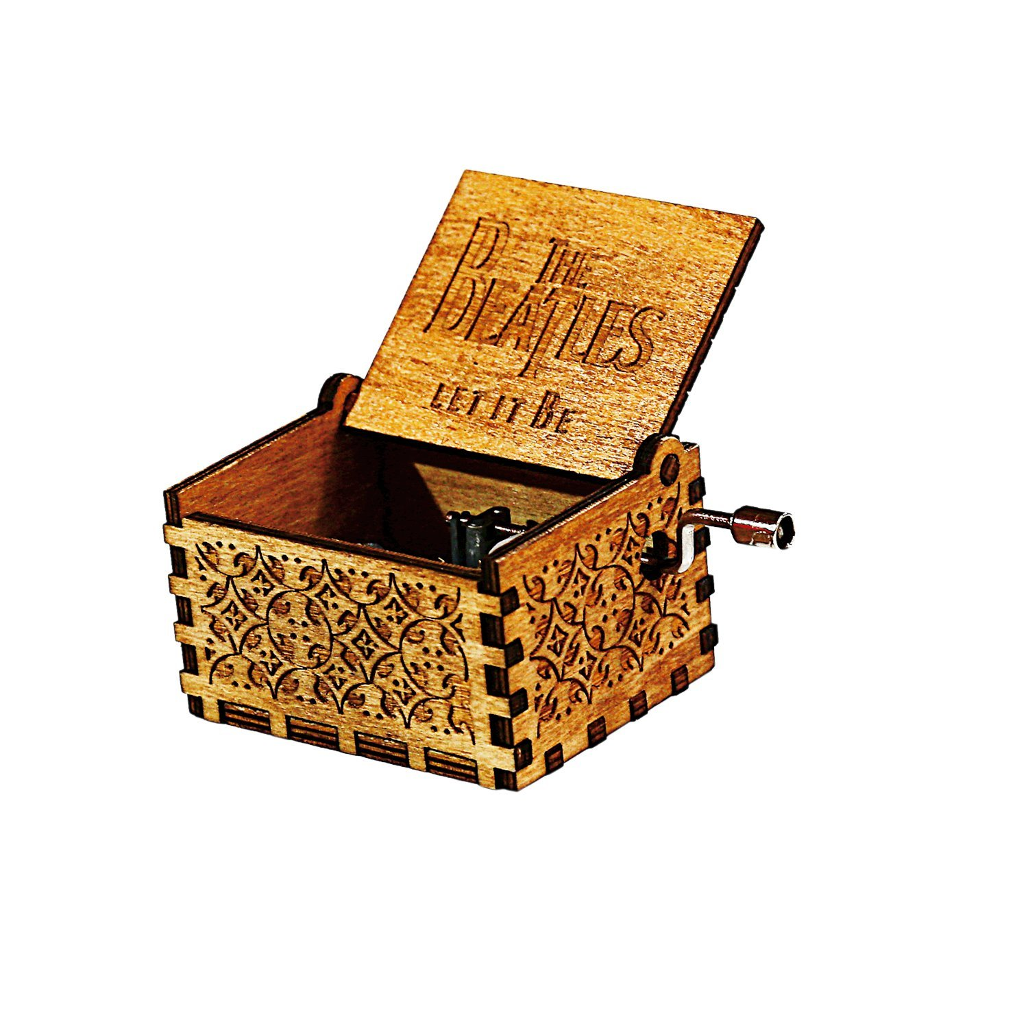 HOSALA Personalizable Music Box Handmade Engraved Wooden (Wood, LET IT BE)