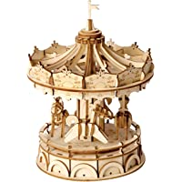 ROBOTIME Merry-Go-Round 3D Jigsaw Puzzle Wooden Craft Kit Wooden Puzzle Architecture Model Toy for Kids and Adults