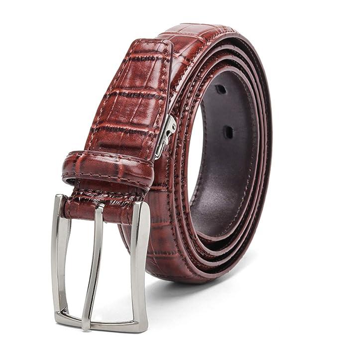 Availcx Cinturones de hombres ocasionales Patrón de cocodrilo Cinturones de  piel de vaca de 3 a5e7e2c69813