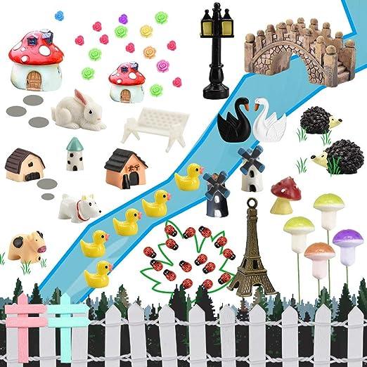FAVENGO 83 Pcs Jardines Miniaturas en Macetas Mini Jardines de Hadas Jardin Miniatura en Maceta Miniaturas para Mini Jardines Miniaturas Planta Animalde para Decoración DIY Jardín Casa de Muñecas: Amazon.es: Jardín